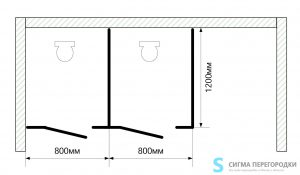 Сантехнические Перегородки 25мм из ЛДСП – 2 кабины